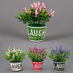 MACETA C/FLORES LAUGH 20CM SURTIDO 4 COLORES