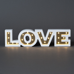 CARTEL C/LUCES LED LOVE DORADO 34*3*9CM MDF