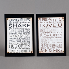 CUADRO MADERA FAMILY RULES/PROMISE 47*3*33CM