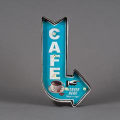 CARTEL METAL FLECHA CAFE CELESTE C/LUZ 21*40