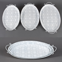 BANDEJA METAL CALADAS SET*3 OVAL 42/46/53CM