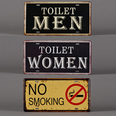 CARTEL METAL TOILET / NO SMOKING 15*30CM