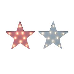CARTEL C/LUCES LED ESTRELLA ROSA/BCA 16*3*16CM MDF