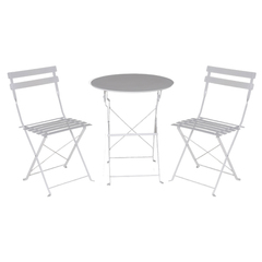 SILLAS SET *2 CON MESA METAL BLANCA